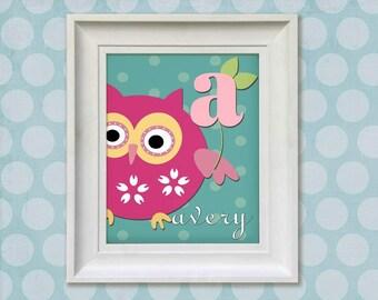 Childrens Art Print - Personalized Pink Owl 8x10 Aqua Baby Room Decor