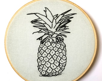 Pale Blue Pineapple Embroidery Hoop