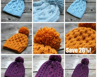 Knitting pattern, knit pattern, knitting tutorial, knit hat pattern, ebook, PDF