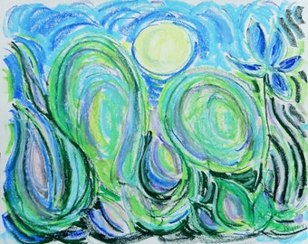"Landscape 25, 11"" x 14"" original signed abstract landscape night"