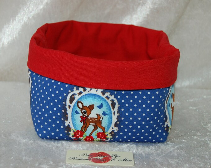 Handmade Fabric Basket Storage Bin short Bambi Deer