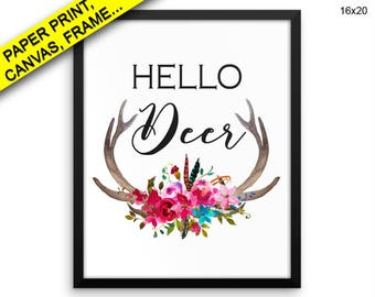 Hello Deer Canvas Art Hello Deer Printed Hello Deer Home Art Hello Deer Home Print Hello Deer Framed Art Hello Deer Deer Printed Antlers