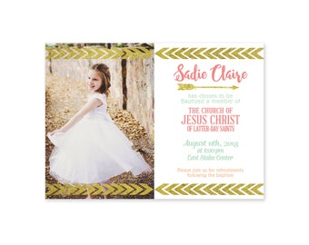 LDS Baptism - Invitation - Announcement - Girls Baptism - Printable - LDS Primary - Gold - arrow - great to be 8