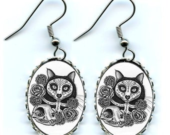 Day of the Dead Cat Earrings Mexican Sugar Skull Cat Gothic Cat Art Cameo Earrings 25x18mm Gift for Cat Lovers Jewelry