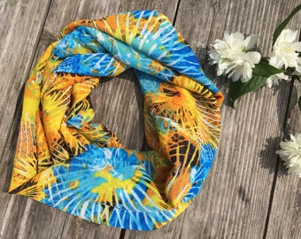 infinity scarf yellow blue, womens cowl, fabric infinity scarf, blue yellow cowl, gift for her, womens scarves, gift birthday christmas