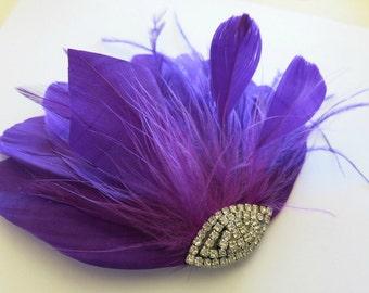 Bridal Hairpiece, Bridesmaids Prom Hair, Purple Feather Fascinator, Wedding Hair Accessories, Wedding Hair Piece Art Deco Fascinator