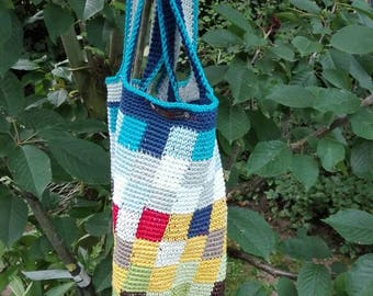 Crochet bag bag Stable pixel-crocheting view over the wheat field in the sky