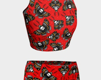 Death Moth (Old School Tattoo) - Swimwear Combo Crop Top + Mini Shorts - From XL to XS