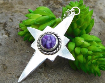 Silver North Star pendant | Purple Charoite necklace | artisan metalwork | compass necklace | ocean star necklace | stargazing | Silver star