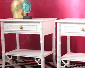Thomasville Allegro Faux Bamboo Nightstands - Available for Custom Lacquer