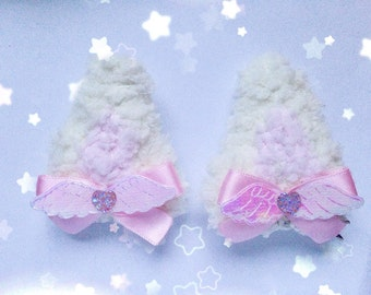 Kawaii Clip In Kitty Ears, Fairy Kei, Sweet Lolita, Pastel Kei, Harajuku etc inspired