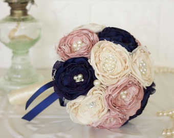 Fabric Flower Bouquet, Navy, Cream and Pale Pink  Satin and Lace Bridesmaids Bouquet, Vintage Inspired Fabric and Brooch Wedding Bouquet