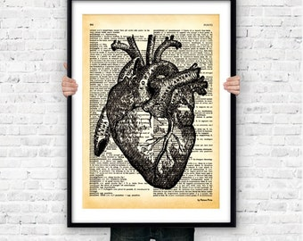 Antomical heart dictionary wall art print-anatomical print-heart poster-heart print-anatomy poster-heart on book page-by NATURA PICTA-NPS018