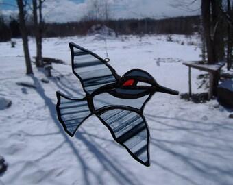 downy woodpecker, stained glass suncatcher