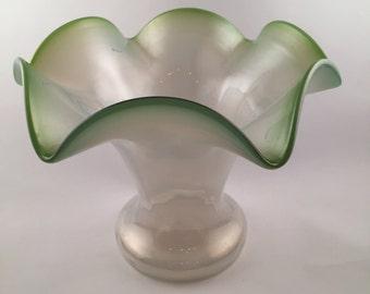 Vase, Green Vase, Czech Glass Vase, Antique Czech Vase, Green Glass Vase, Antique Czech Vase, Czechoslavakian Glass,Gift for Czech Collector
