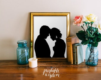Custom Silhouette printable - wedding silhouettes print portrait anniversary gift art wall decor poster - Personalized, digital