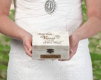 Personalized Ring Bearer Box Engraved For Free Alternative Ring Bearer Pillow Birch Tone Wood Case For Wedding Rings For Ring Bearer To Use