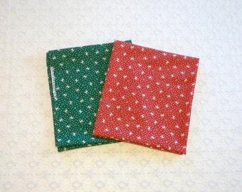 Vintage Red Green Reindeer Snowflake Christmas Fabric Lot 2pc