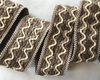 "Decorative trim by yard - 1 1/2"" 4cm trim - vintage French Passementerie - sewing supply - brown beige upholstery trim - curtain & lamp shad"