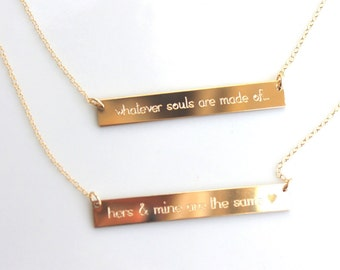 Custom Engraved Necklace - Gold Bar Necklace - Word Sentence Quote - Gold Roman Numeral - Date Personalized necklace - Nameplate Horizontal