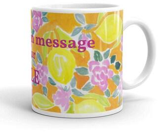 Custom mug, flower mug, yellow m