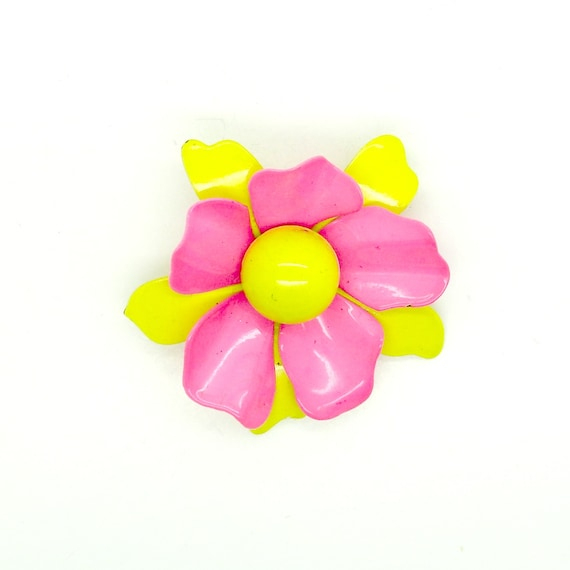 VINTAGE brooches pins ENAMEL brooches and pins for women summer women  enameled BROOCH pin vintage pink yellow pink flowers