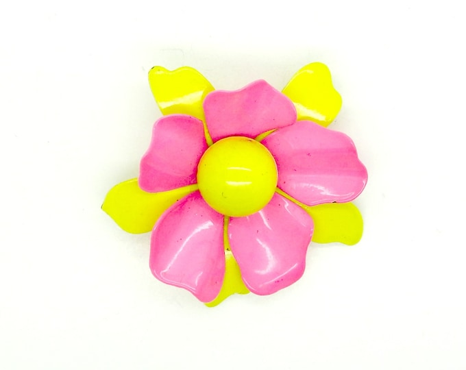 Pink yellow broach, gift for her, pink fuchsia yellow jewelry brooches, floral brooch pin, pink and yellow pin, colorful jewelry christmas