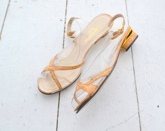 1970s Clear Vinyl and Cork Sandals, Size 12N