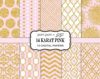 SALE 10 Digital Papers, Background Patterns, Scrapbook Paper Pack, Printable, Instant Download, Pink, Gold Foil, Gold Leaf, Scrapbooking 14K