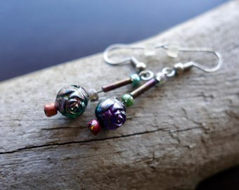 Rainbow Rose Bead Earrings with Silver Dangles