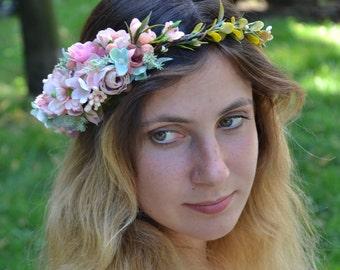 Flower Crown, Boho crown, Wedding flower crown, Rustic wedding, Bridal, Floral crown, Adult flowers, Boho flower wreath, Flower headband