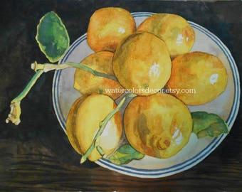 Original Still Life Lemons Watercolor. Lemon Bowl. Kitchen Wall Art. Lemons picture. Lemon artwork. Fruit painting. Country decor. Art.