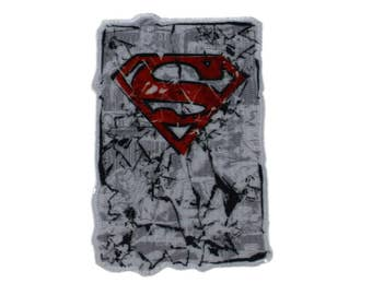 Red Superman Iron On Applique, Superman Patch, Genuine DC Comics Iron On Patch, Superman Applique, Superhero Patch, Embroidered Patch