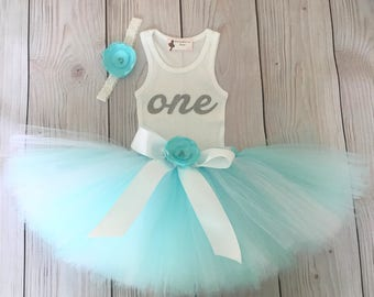 Aqua Blue Baby Girl 1st Birthday Outfit | Baby Tutu | Tutu Dress | Birthday Dress | Baby Girls Cake Smash Outfits | Birthday Tutu