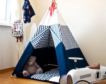 Navy blue teepee, childrens teepee, kids teepee, play tent, play house, tipi, teepee tent, kids teepee tent, teepee tent for kids, vichy