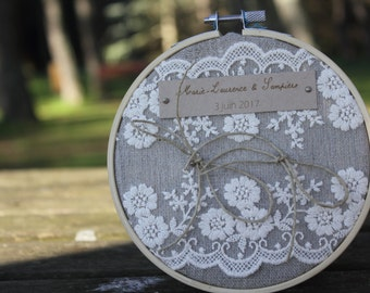 Porte-alliance gamme  mariage champêtre chic 