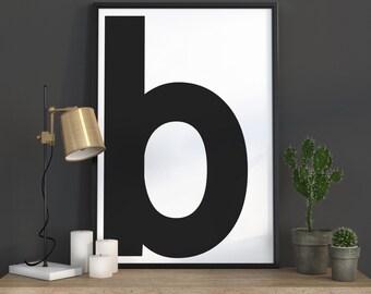b Letter Print, Initial Wall Art, Scandinavian Art, Scandinavian Poster, Initial Poster b Letter Poster, b Letter Print, INSTANT DOWNLOAD