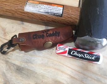 Leather Lip Balm Holder Swivel Clip Edition...The Chap Caddy Daddy