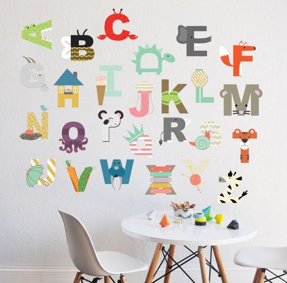 Alphabet wall decal interactive alphabet wall sticker