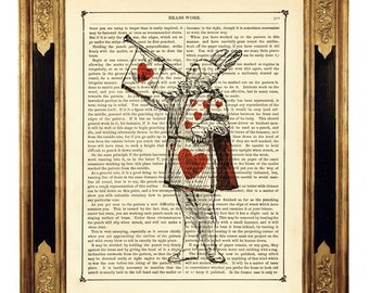White Rabbit Art Print Alice in Wonderland Heart Poster - Vintage Victorian Book Page Art Print Steampunk Playing Card Baby Shower