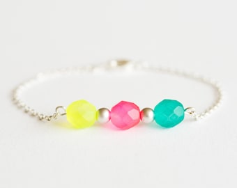 Delicate silver bracelet with neon beads - delicate minimal jewelry