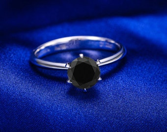 Round Cut Black Diamond Engagement Ring 14k White Gold or Yellow Gold Solitaire Diamond Ring Art Deco Anniversary Ring