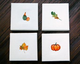 Fall Miniature Paintings - Set of 4