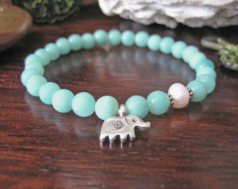 Amazonite Bracelet - Elephant Bracelet with Fine Silver Charm and Pearl, Aqua Blue Green Stone for Crystal Healing Abundance and Prosperity