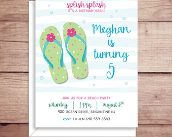 Flip Flop Party Invitations - Beach Party Invitations - Birthday Pool Party Invitations - Summer Birthday Invitations - Flip Flop Invites