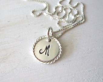 Initial Necklace,Hand Stamped Necklace, Mother's Necklace, Sterling Silver Necklace ..Personalized initials .. Sterling Silver Eternity Ring