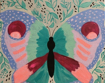 Butterfly Painting, Girl's Room Art, Nursery Decor 12x12 painting, Turquoise Leaves and Vines, Lavender, Pink, Coral Painting, Baby Girl Art