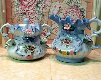 Shabby Chic Ornate and frilly Sugar Bowl and Creamer Set