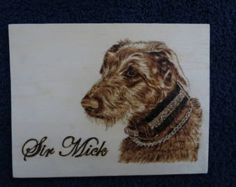 """Pet Potrait Wood Burn 3-D Shadow Box Made to Order 7.5"""" x 5.75"""" x 2"""" Irish Wolfhounds by Shannon Ivins"""