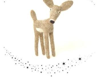 Needle Felt Deer Collectable Soft Sculpture Deer